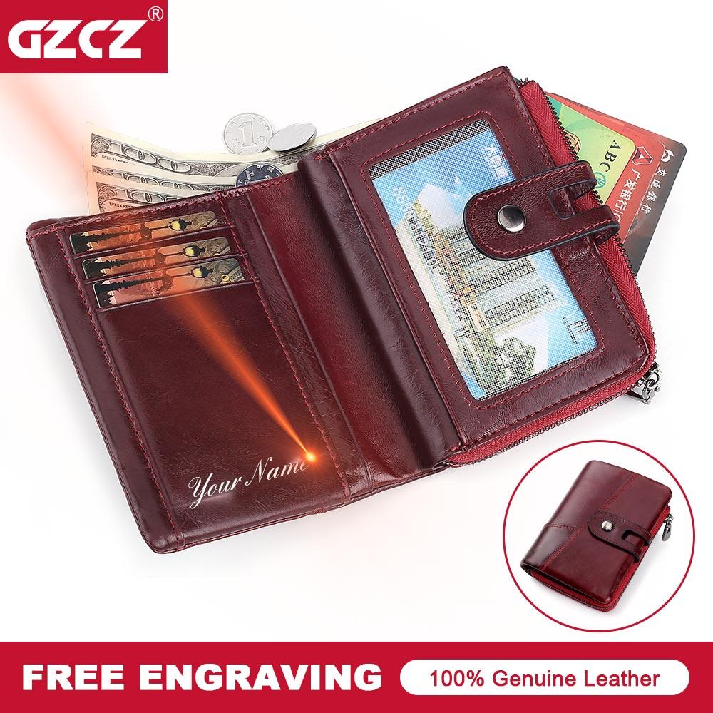 GZCZ Fashion Genuine Leather Women Wallet Zipper&Hasp Clutch Wallets Short Wallet Female Drop Shopping Womens Purse Money Bag