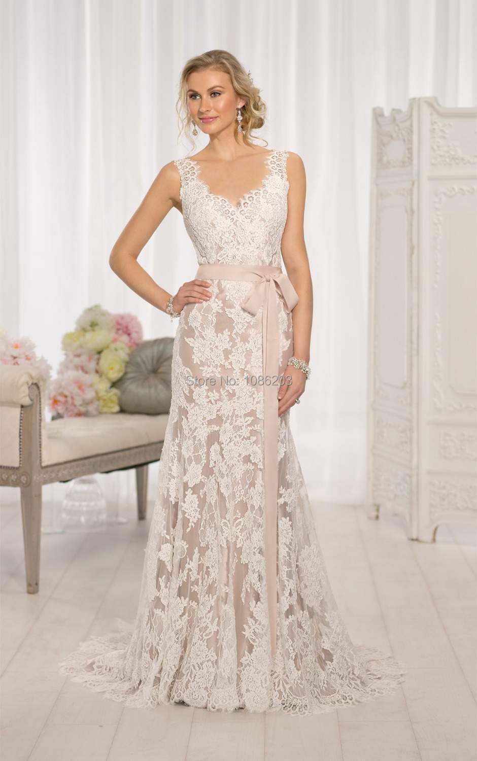 Elegant Custom 2017 New Strapless Wedding Dresses Pink Lace Lique Sequins A Line Bow Gown Train In From Weddings Events