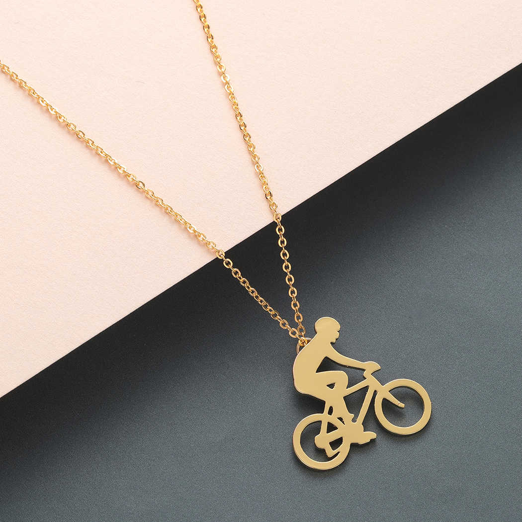 Todorova Bicycle Riding Cycling Men Necklace Figure Bike Rider Necklace Sport Jewelry Gift Male Stainless Steel Chain Necklace