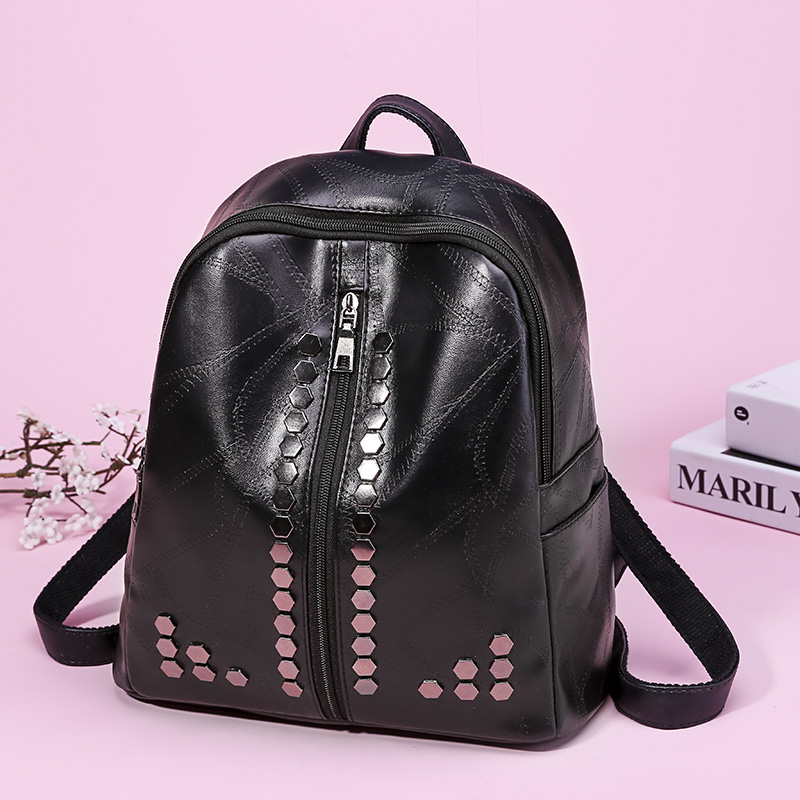 2018 Einfache Stil Rucksack Frauen Pu Leder Rucksäcke Für Teenager Mädchen Schule Tasche Mode Vintage Solide Dame Schwarz Schulter Tasche