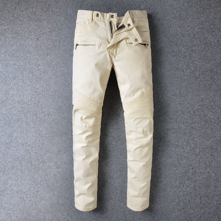Balmain jeans Fashion Mens Biker Jeans Pants Multi Pockets Slim Fit Pleated Motorcycle  Denim Joggers Male Brand Designer Cargo Jean Trousers