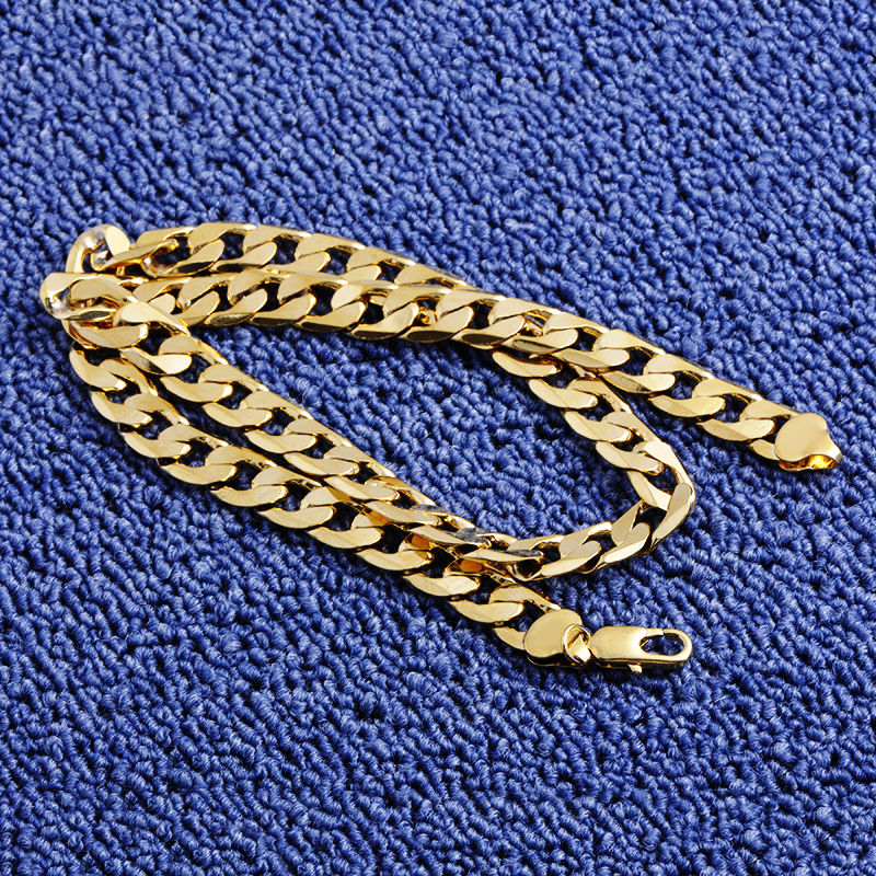 Shellhard Hip Hop Men Necklace Chains Fashion Solid Gold Color Filled Curb Cuban Long Necklace DIY Chain Charm Unisex Jewelry