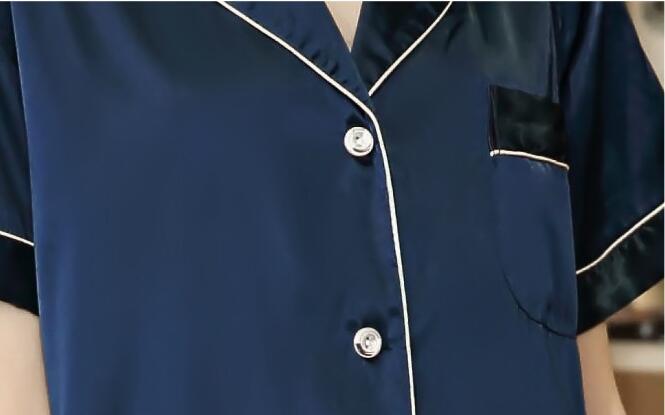 efd704da20 YT 038 Women Nightshirt Top Button Sleepshirt Mini Dress Sleep Short Sleeve  Felmale V neck Knee length Silk Solid Nightwear-in Nightgowns   Sleepshirts  from ...