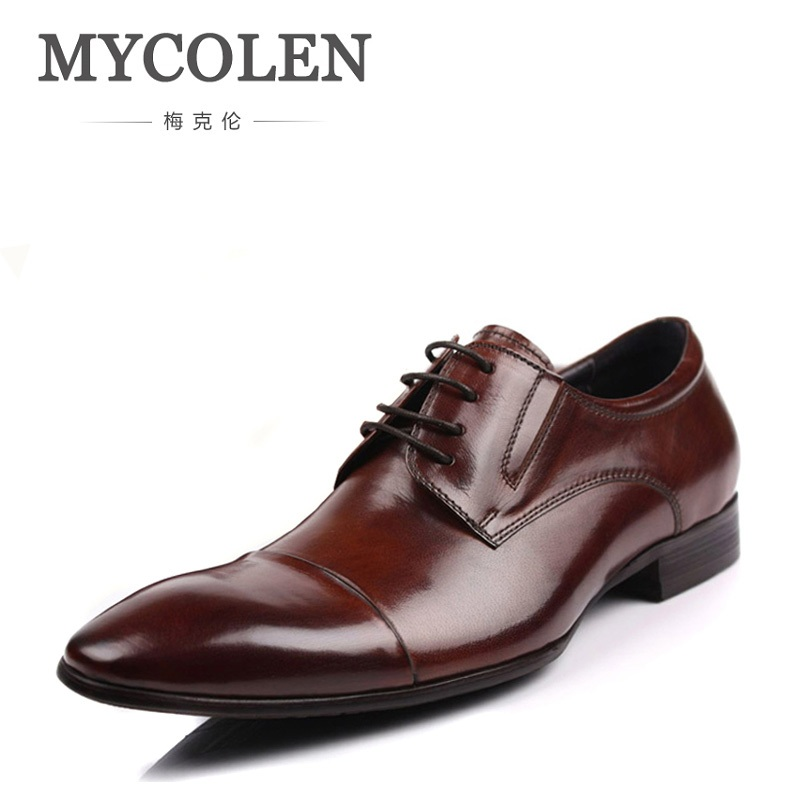 MYCOLEN 2018 New Men Dress Shoes Genuine Leather Luxury Breathable Fashion Groom Wedding Shoes Men Oxford Business Shoes