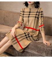 2019 New Plus Size 2XL Women Autumn Winter Loose Fashion Pullover Dress Female Plaid Casual Dress Ladies Warm Knit Sweater