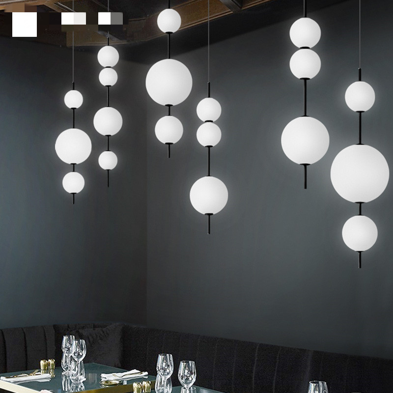 Modern Loft Foyer Led Chandeliers Lighting Restaurant Pendant Lamp Hotel Hall Hanglamp Bedroom Hanging Light Fixtures Glass Ball