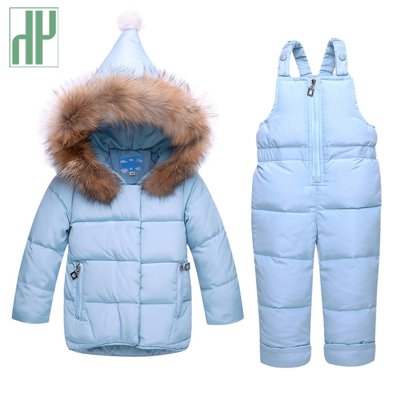 Kids Clothes baby Girls Down Coat Warm Toddler Snowsuit Outerwear+Romper Clothing Set Russian children's Winter jackets boy 2pcs set baby clothes set boy