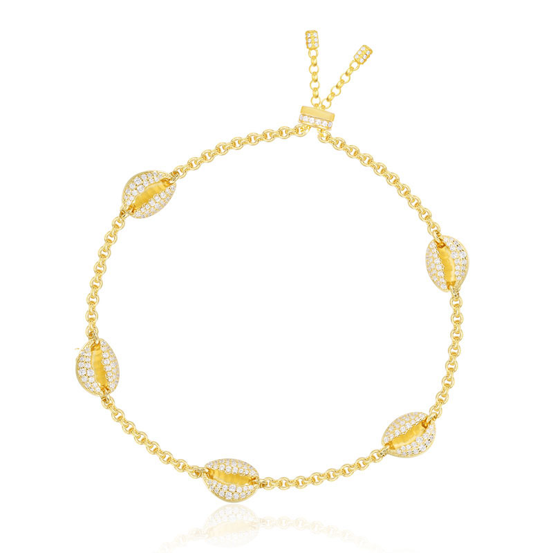SLJELY High Quality 925 Sterling Silver Yellow Gold Color Toi Et Moi Conch Seashell Zircon Bracelet
