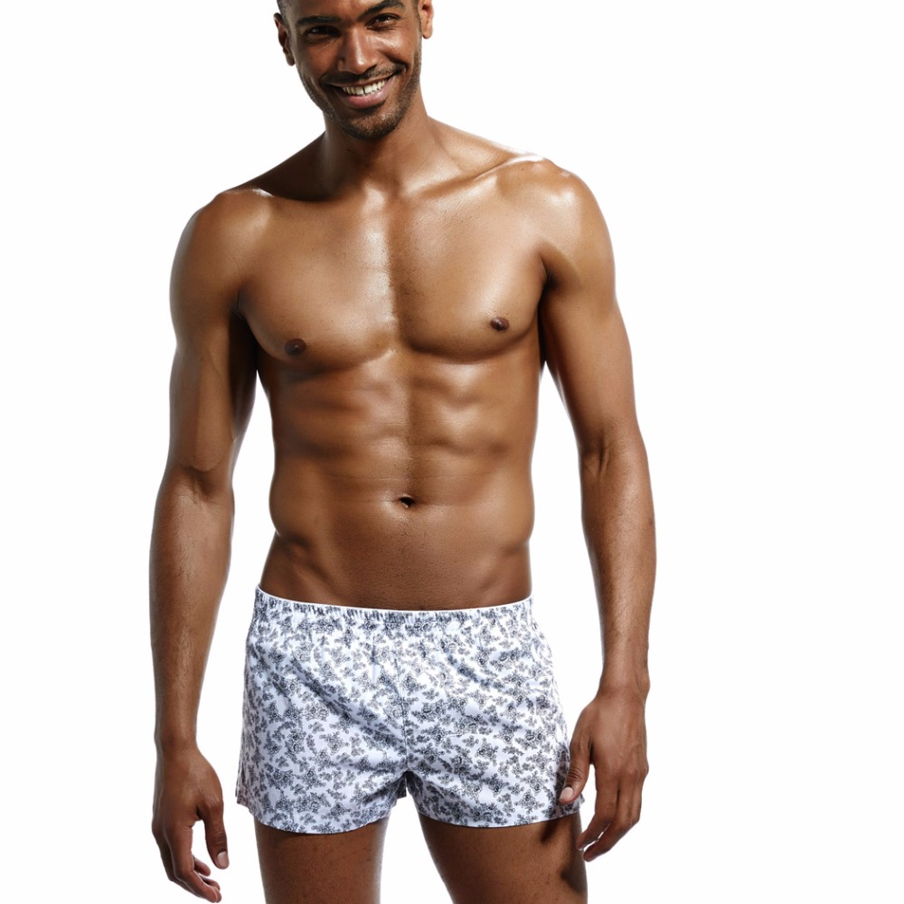 Men's Underwear Cotton & Polyester Low Rise Men Shorts Loose Boxers Print Floral Cueca Boxer Summer Leisure Men Home Clothes