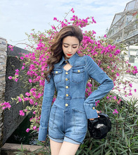 Sexy Denim Jumpsuit Playsuit Women Summer Korean Ladies Long Sleeves Bodycon Short Jeans Romper Femal Shorts