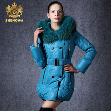 2015 new women's SHENOWA raccoon fur collar thickening a down jacket white duck winter coat parka women winterjas dames