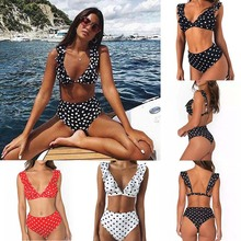 Sexy Bikini Push Up Swimsuit Swimwear Women Bikini Set Two Piece Ruffled Black White Dots Beach Bathing Suit Swim Wear 2019 New sexy black lace two piece swimsuit skirt style bathing suits push up bikini swimwear beach wear women s swimming suit