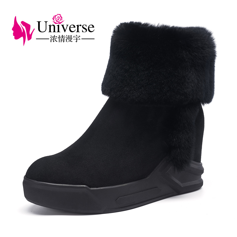 Universe real fur winter women ankle boots warm ladies boots wedge heel kid suede boots for women G251 2018 new winter ladies warm real fur