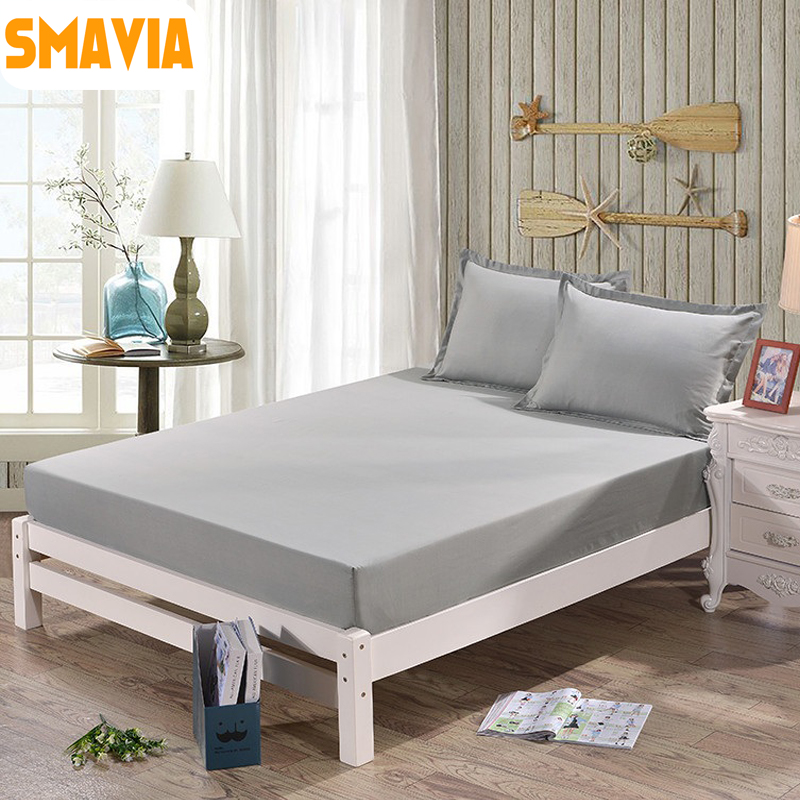 SMAVIA Hot Sale Solid Bed Sheets Home Textile 100% Polyester Mattress Cover  Fitted Sheets Or 2pcs Pillowcase Elastic Bedsheet In Bedspread From Home ...