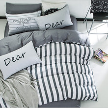 Solstice Japanese Simple Stripes Style Duvet Cover Set 3/4pcs  Washed Cotton Bed Linens Bedding Sets Twin Double Queen Size