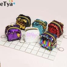 ETya модный Женский Детский кошелек с блестками для монет, кошелек для девочек на молнии, клатч для монет, наушники, посылка, сумочка