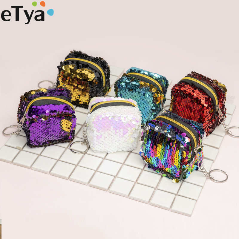 ETya Fashion Women Kids Sequins Coin Purse Wallet Girl Zipper Clutch Coin Earphone Package Handbag Purse Bags Pouch