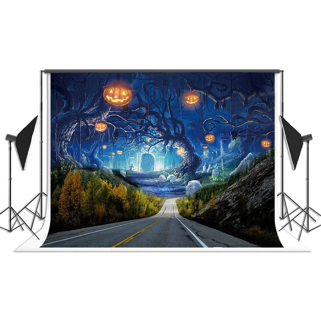 Halloween Photography Backdrop Vinyl Photo Background Studio Prop, Highway shanny autumn backdrop vinyl photography backdrop prop custom studio backgrounds njy33