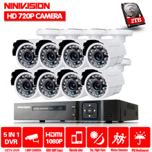 8CH 1080 P Sistem CCTV 720 P Camera AHD DVR Kit AHD DVR Perekam Video 720 P 1.0MP Outdoor kamera Keamanan Sistem dengan 2 TB HDD(China)