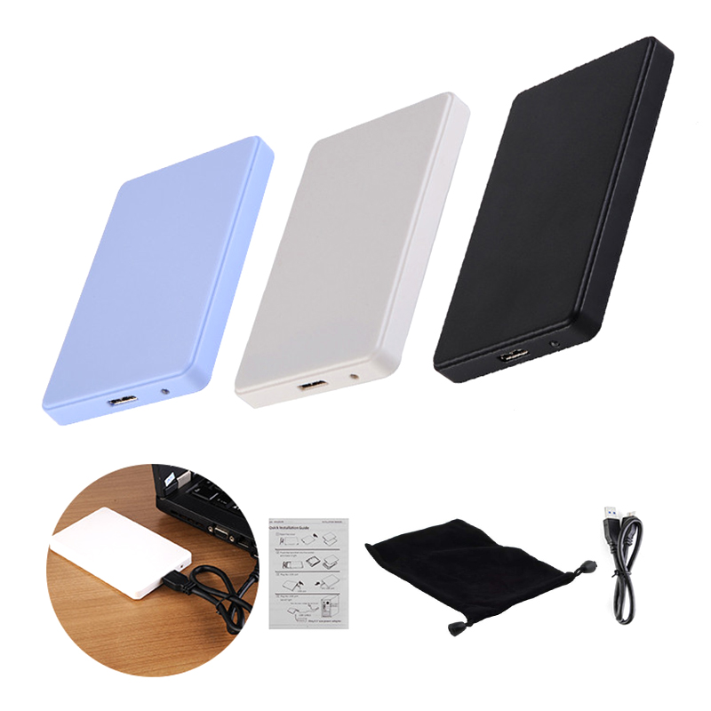 3 Color 2.5 Inch Notebook SATA HDD Case To Sata USB 3.0 SSD HD Hard Drive Disk External Storage Enclosure Box With USB 3.0 Cable