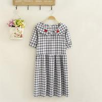 Plus size cotton plaid Embroidered women summer dress 2018 fashion short sleeve peter pan collar high waist vestidos female 5XL