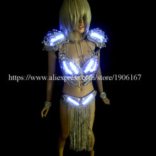 White Crystal Led Luminous Light Growing DS Women Costume Suit Sexy Lady Evening Party Dress Led Stage Props Dance Clothes