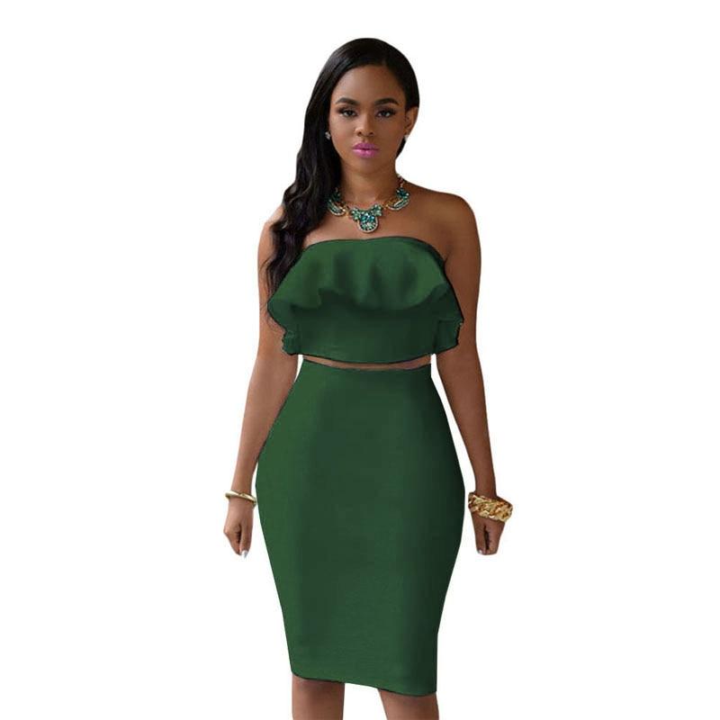 ADEWEL 2018 Women Off Shoulder Ruffles Two Piece Dress Sexy Bodycon Club Crop Top & Midi Dress Sets Party Dress Suit Vestidos green
