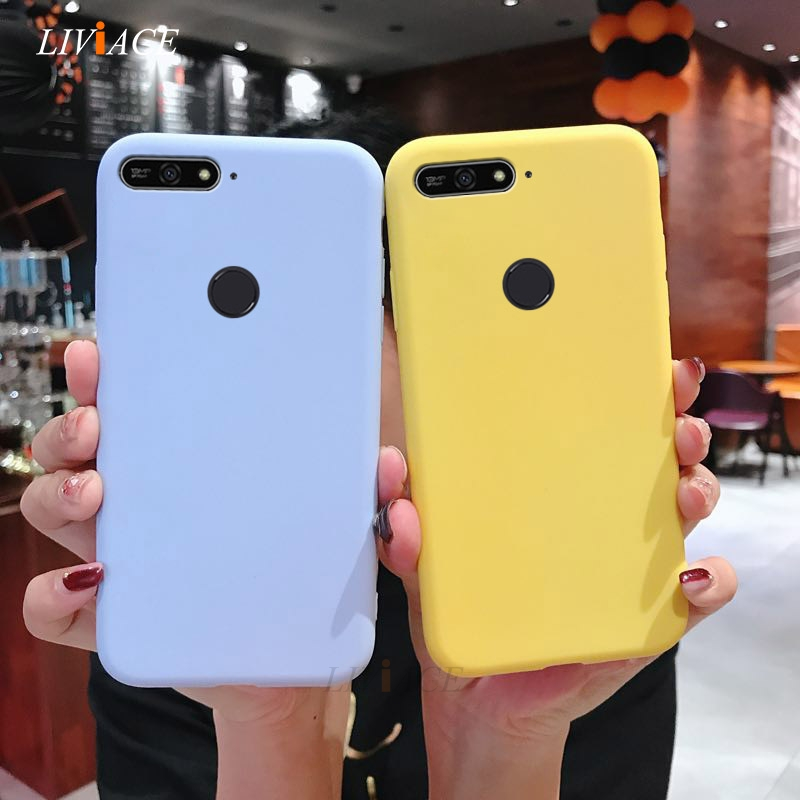 Candy Color Silicone Phone Case On For Huawei Honor 7A 7C Pro 9I V9 Play V10 View 10 8 9 Lite 7S 20 6X Cute Tpu Back Cover Coque