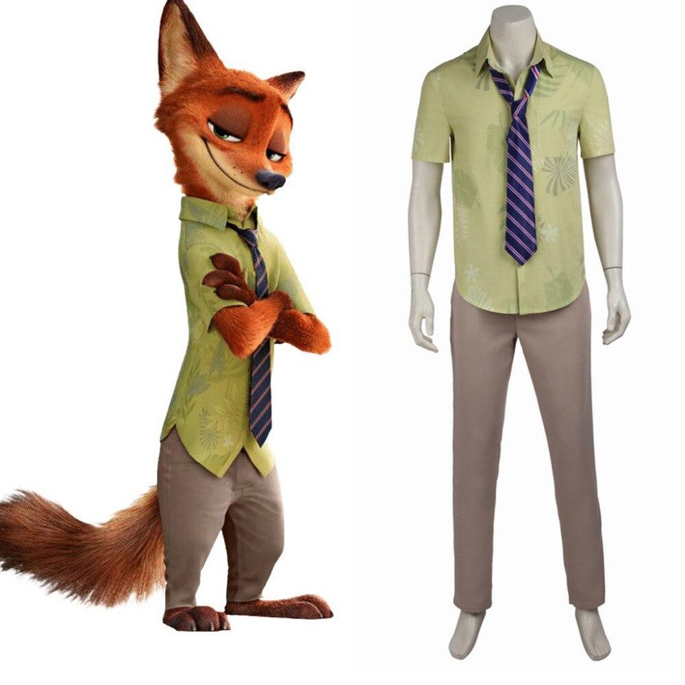 Zootopia Nick Wilde Cosplay Costume Fox Cosplay Tie T-shirt Pants Costumes For Adult Men Halloween Party Custom Made