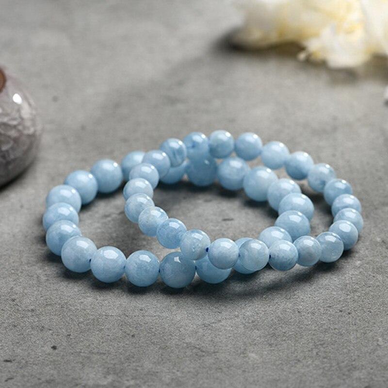HTB1P76Ic56guuRjy0Fmq6y0DXXaN Natural Aquamarine Bracelet Single Circle Crystal Bracelet Jewelry 6-10mm Beads Romantic Casual Crystal Yoga Bracelet