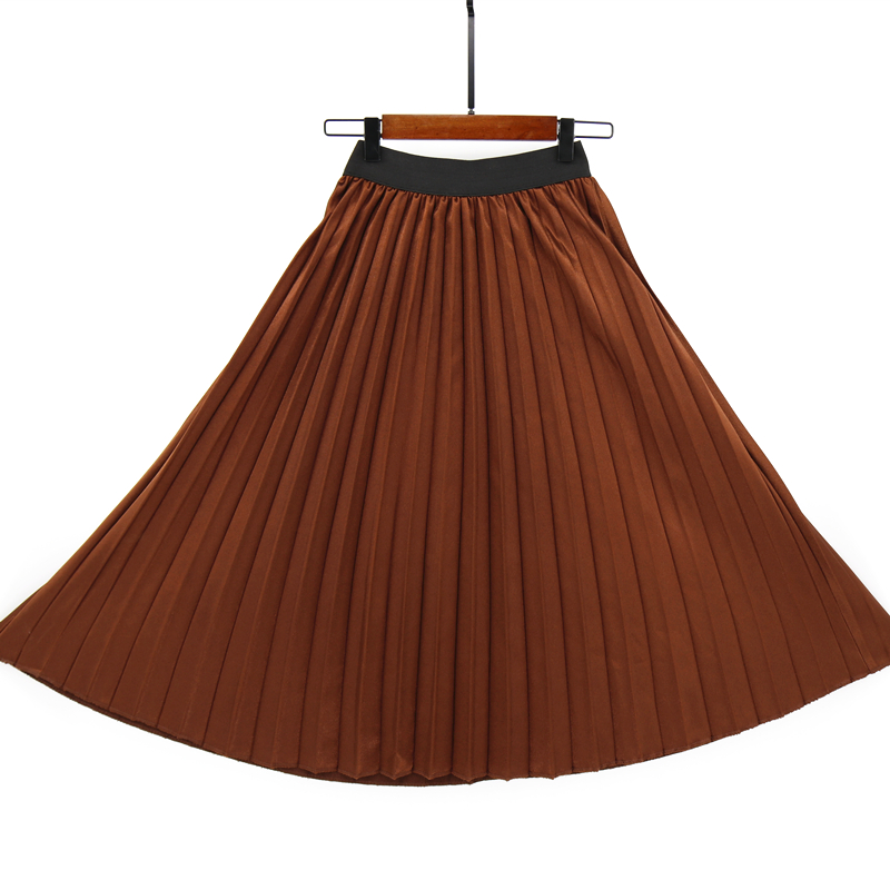 MNOGCC  Autumn Winter Waist Skirt Women Elastic Solid Fashion Long  Skirt Waist Spring Pleated Skirts Female