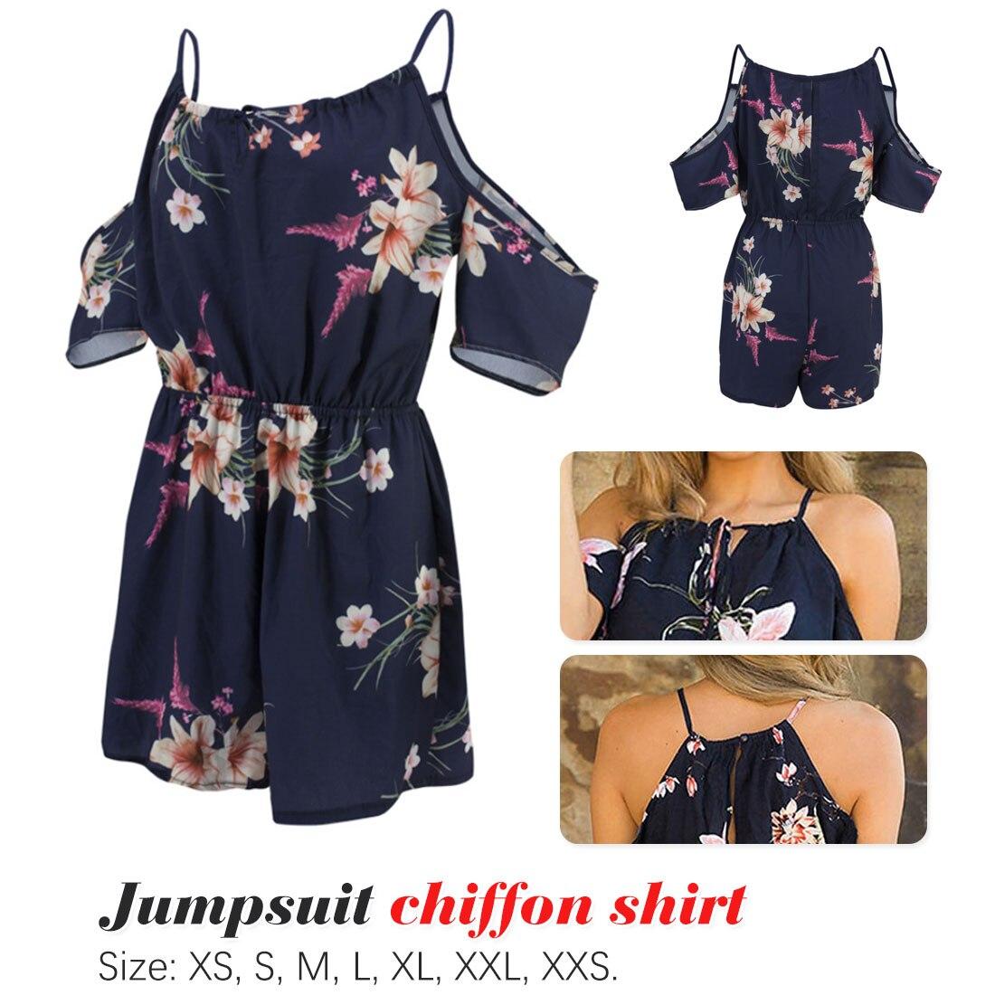 Backless Jumpsuit Summer Rompers Floral-Printed Bohemian Beach-Bodycon Ladie-Shoulder