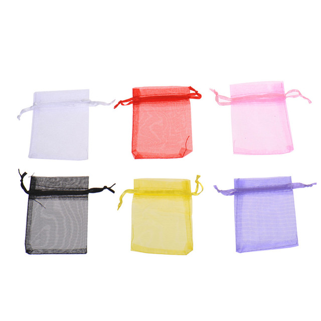 5Pcs/Lot Wholesale Lovely Colorful Organza Wedding Party Bag Pouch Gift Candy Bags Pocket Packing Bags Wedding Accessories Drop
