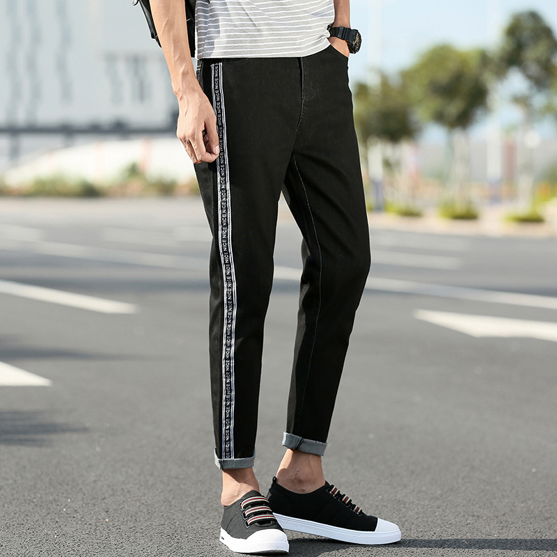 2018 casual wild Black Jeans Self-cultivation Korean Trend Youth Japanese Man Elastic Force Bound Feet Pants Free shipping