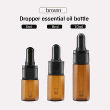 10ps 5ml glass cosmetic bottle Mini bottle,Empty container amber oil dropper refillable