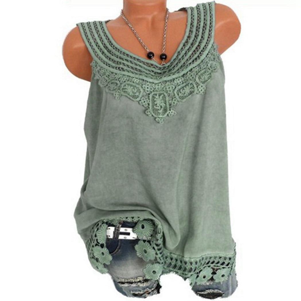 a3a278d6cd Plus Size Blusa de Renda Verão 2018 Encabeça Mulheres Camisa Sem Mangas Do  Vintage Patchwork Túnica