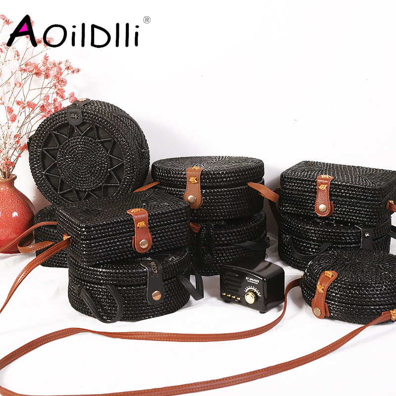 Bali New Black Round Rattan Bags For Women Boho Beach Crossbody Bag Straw Handmade Woven Circle Shoulder Bag Female Handbags
