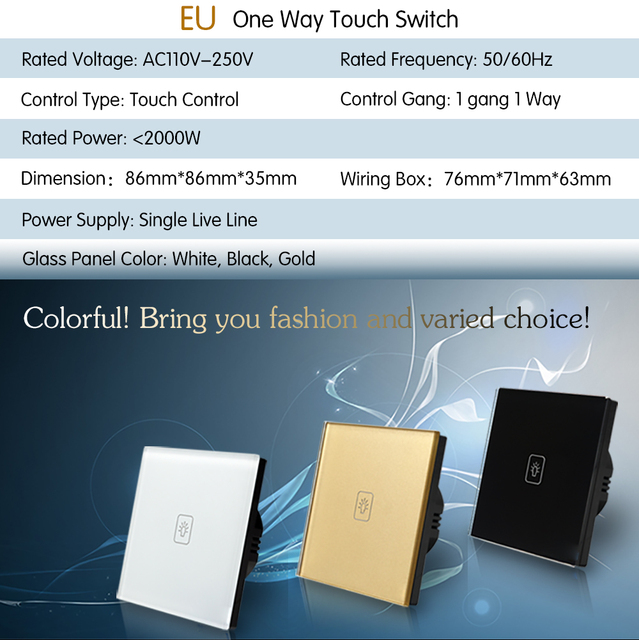 UK Standard touch screen feel touch switch 1 gang 1 way 220V three ...