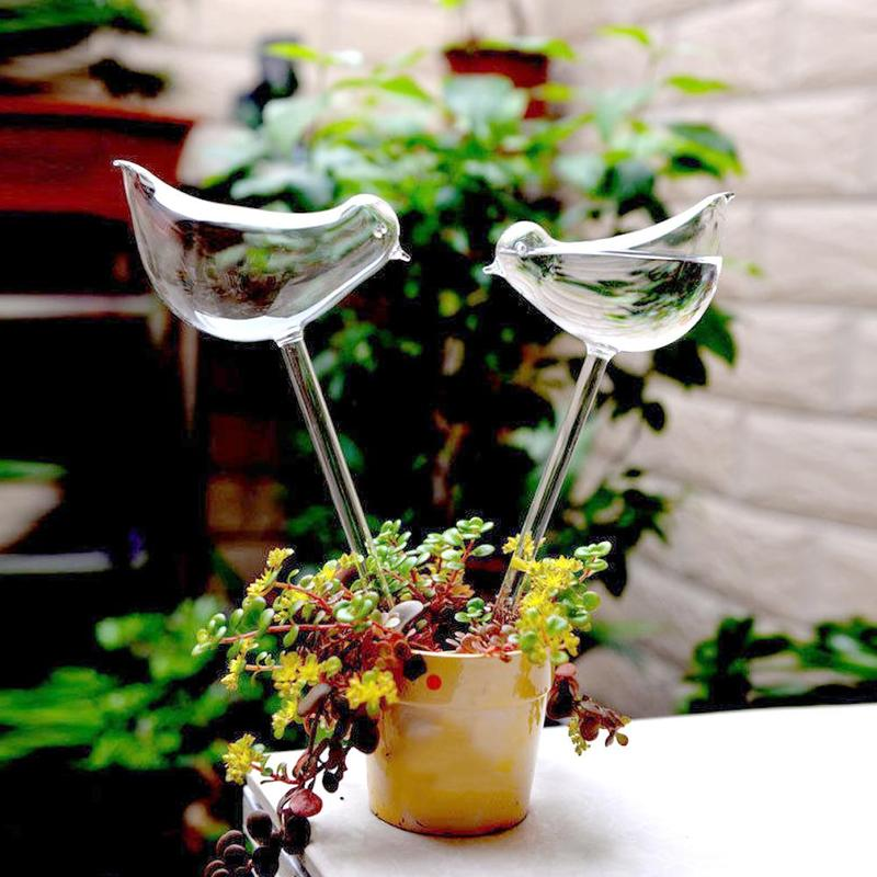 Birds Shape House Plants Flowers Water Feeder Automatic Self Watering Devices Clear Glass Water Feeder Garden Water Cans