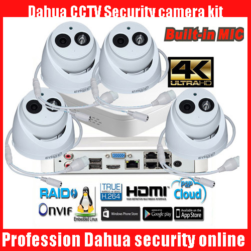 Original dahua mutil language 4K H.265 NVR4104-P-4KS2 4ch POE IP Camera kits with DH-IPC-HDW4433C-A audio System Security Camera
