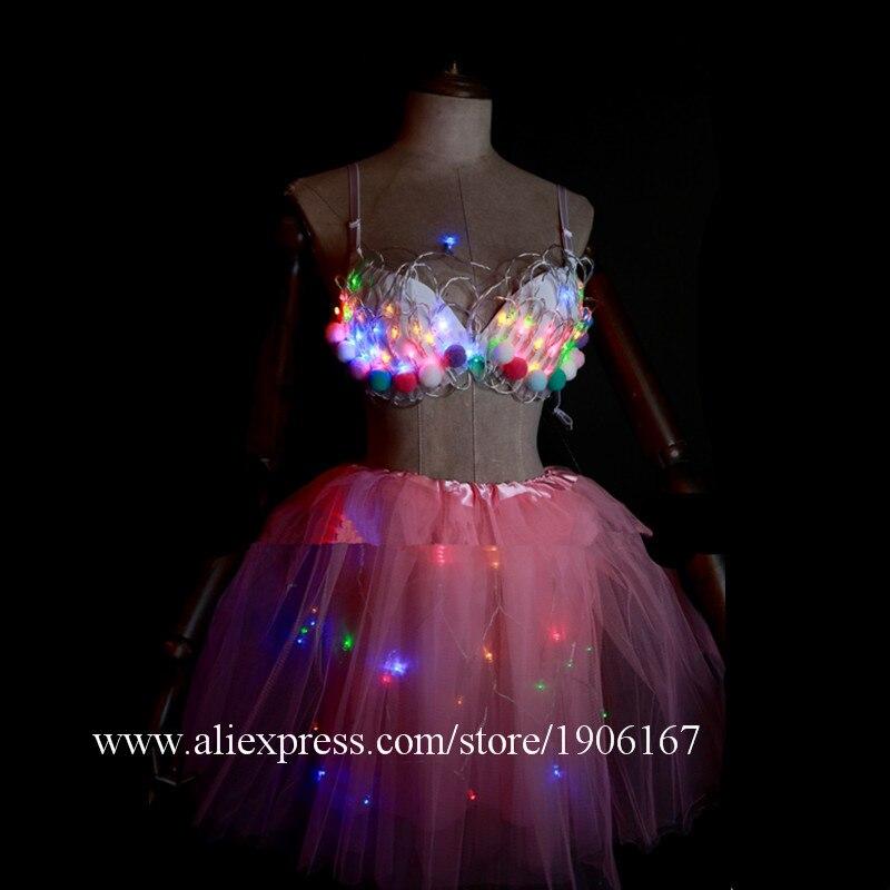 White Valentine\'s Day LED luminous wedding design gogo female songs ds hundred DJ suit costumes09