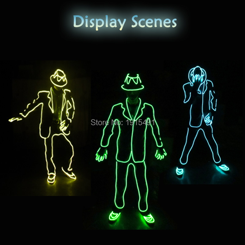 Newest Stage Design Neon Led Strip Michael Jackson Dance Suit Glowing EL Cable Rope Fashion TV Show Twinkling Costume with Drive