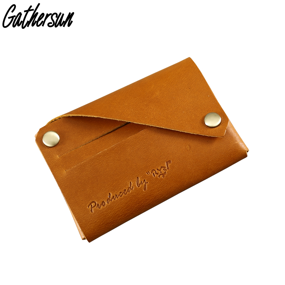 Free Shipping Gathersun Genuine Leather Slim Wallet Original Design Minimalist Top Grain Leather Card Holder Wallet