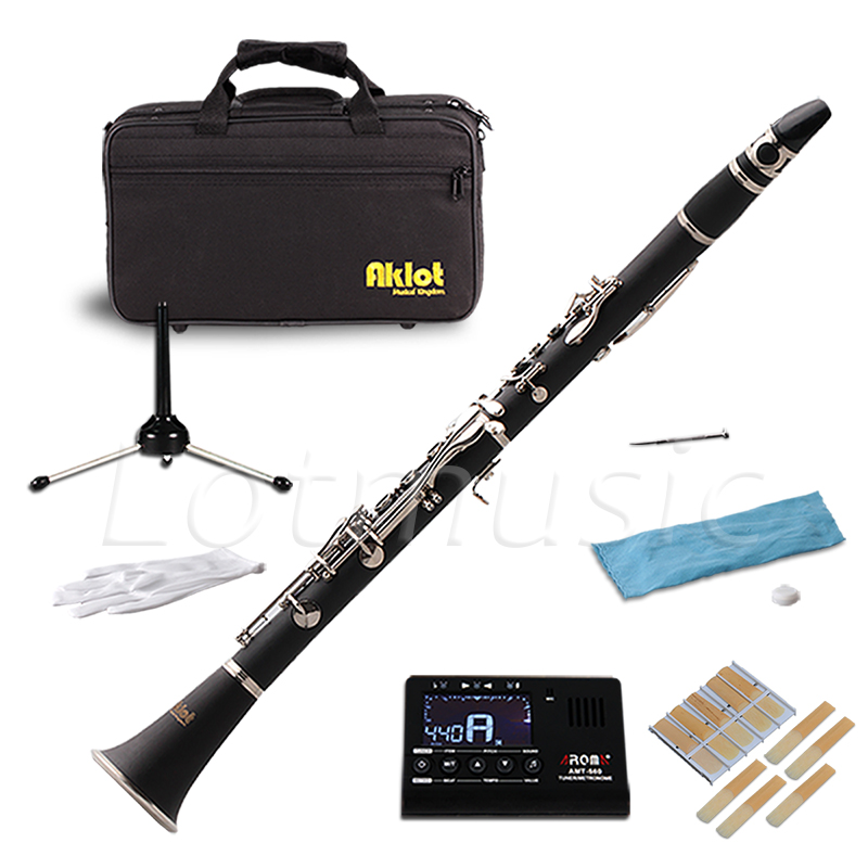 Aklot Bb Clarinet Bakelite Body 17 Brass Nickel Plated Keys with Case Tuner Stand Reeds professional new silver plated trumpet bb keys with monel valves horn case