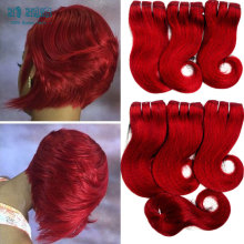 Sexy Hair Formula Brazilian Body Wave Closure Star Style Hair 8inch red burgundy 6 Bundles Bele Wowigs Hair beach wavy soft hair