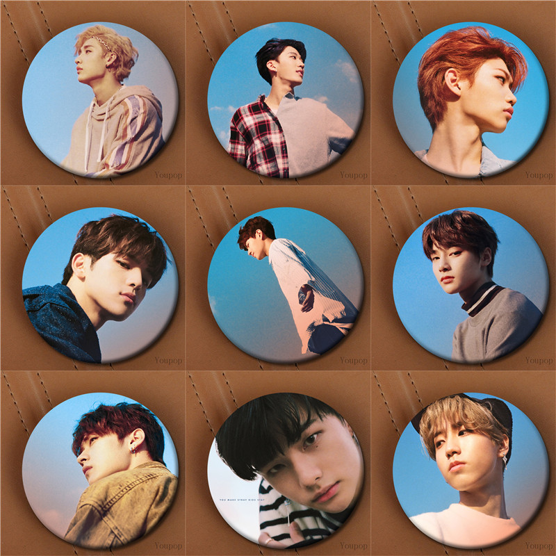 Youpop KPOP Stray Kids Mini 3th Album I am You StrayKids Bang Chan CHANGBIN Photo Badge Pins Brooches for Clothes Hat Backpack super bowl ring 2019