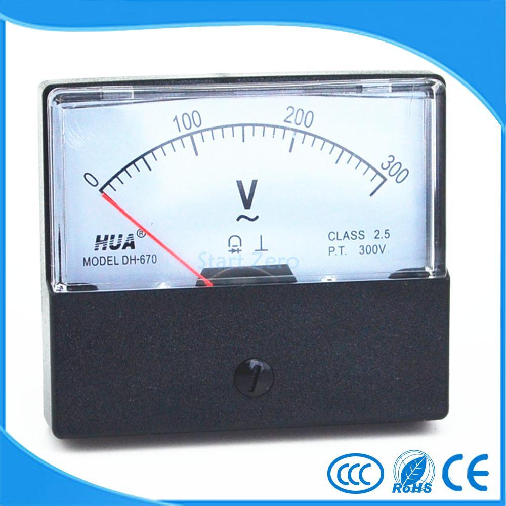 AC 0-300V Analog Panel Meter Voltmeter Gauge DH-670