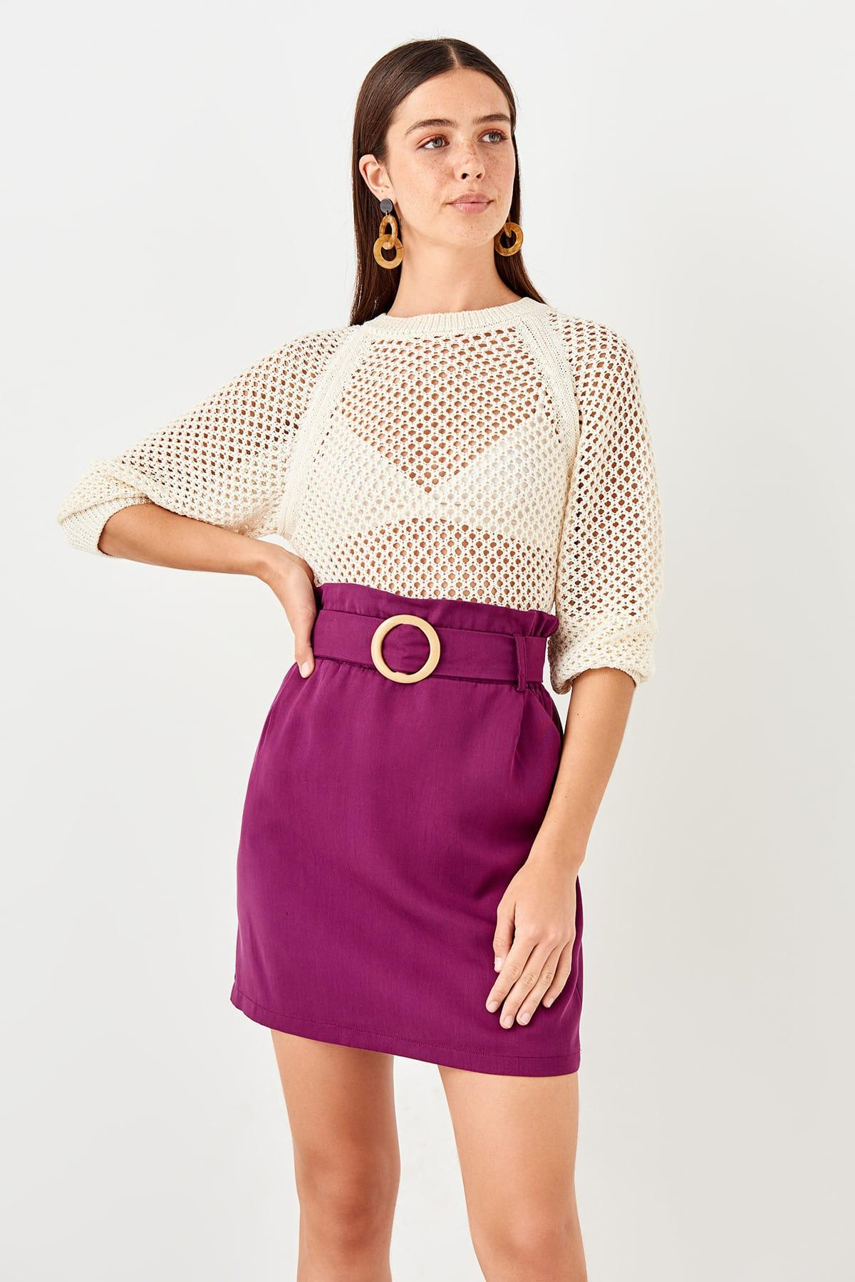 Trendyol Mürdüm Belt Detail Skirt TWOSS19ST0188