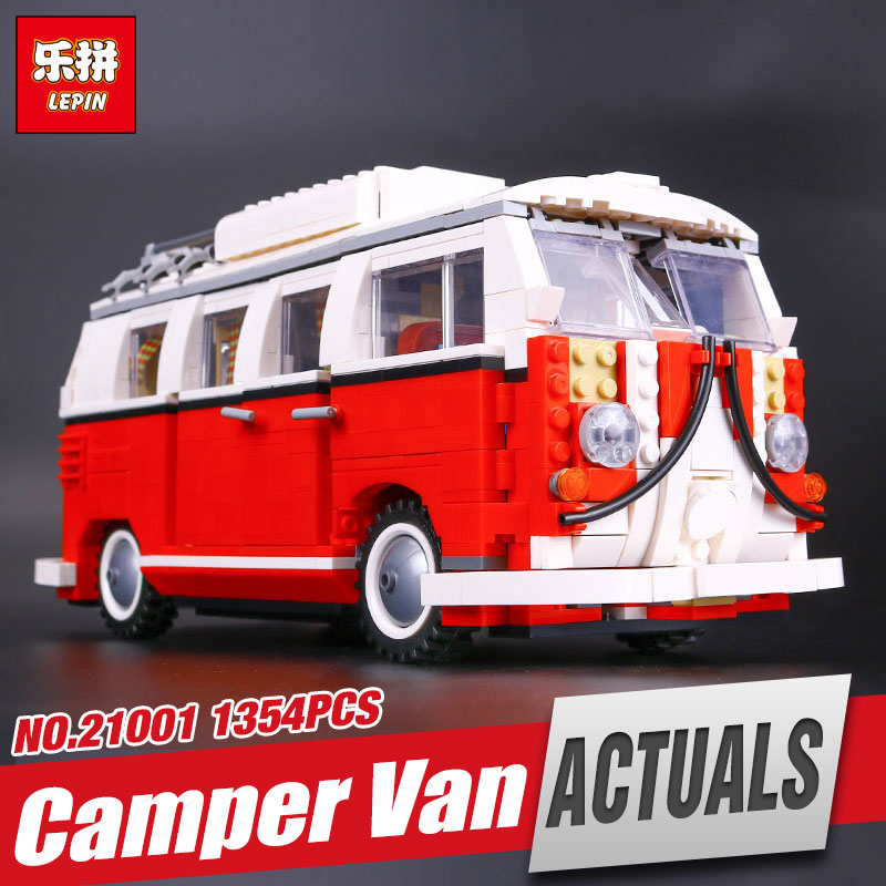 NEW LEPIN 21001 1354pcs Genuine T1 Camper Van Model Educational Building Kits  Bricks with 10220 Gift Toys For Children new lepin 22001 pirate ship imperial warships model building kits block briks toys gift 1717pcs