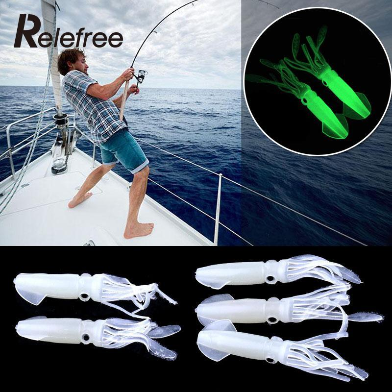 Relefree 5Pcs 10CM 8g Soft Fishing Lures Octopus Squid Luminous Noctilucence Lures Bait Glow in the Dark 8 inch soft skirt bait sea fishing lures game trolling fishing lures resin head with double octopus skirt